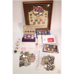 Selection of foreign coins and bank notes including framed British World War II Collection with stam
