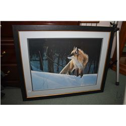 Framed signed limited print of a fox in the snow, pencil signed by artist Rod Tribiger, 523/1500