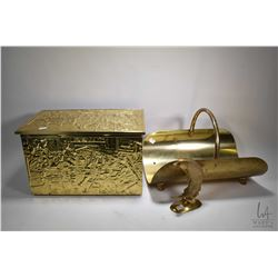 "Brass bass relief lidded coal box and a 8"" brass fish plus a brass log holder"
