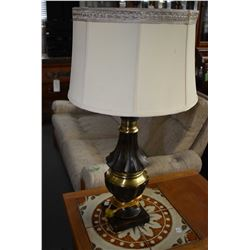Pair of simulated bronze and brass table lamps