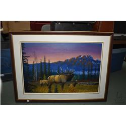 """Framed acrylic on canvas painting of a caribou in a mountain meadow, signed by artist G. Wesley, 24"""""""