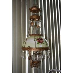 Antique hanging oil lamp with pulley mechanism, hand painted floral shade, colourless glass font and