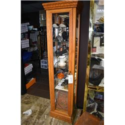 Tall single door oak and glass display cabinet with glass shelves