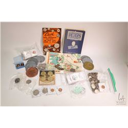 Selection of coins including Canadian and foreign plus a selection of medallions including United St
