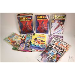 Selection of vintage comic books including DC Action comics weekly, Superman, Robot Fighter, Black H