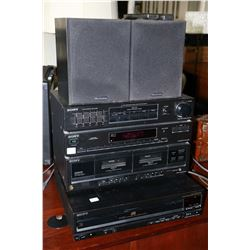 Sony stereo including equalizer, dual cassette, tuner, CD player and pair of Wharfedale speakers, tu
