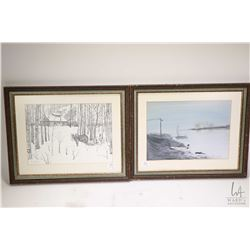 Four pieces of wall art including two original watercolours; a snowy creek scene signed Diane Philli