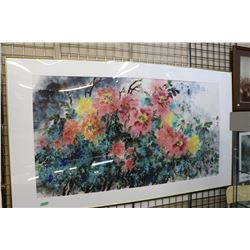 "Framed original watercolour painting of flower signed by artist 36""x68"""
