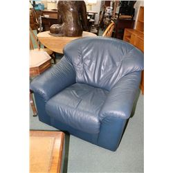 Modern navy blue leather parlour chair