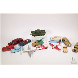 Selection of vintage Dinky toys including four berth caravan, Rolls Royce silver cloud, Mercedes lim