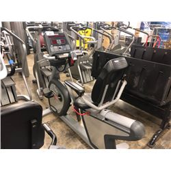 STAR TRAC RECUMBENT BIKE WITH CARDIO THEATER MEDIA CONTROLS, MISSING PLUG/ADAPTER, MISSING BELT,