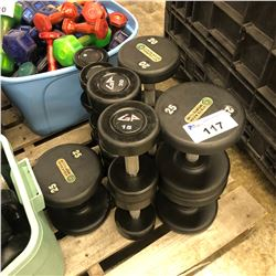 LOT OF ASSORTED DUMBELLS