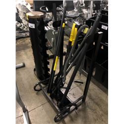 DUMBELL RACK AND EQUIPMENT RACK WITH ASSORTED EXERCISE EQUIPMENT