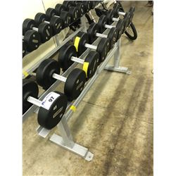 LOT OF ASSORTED DUMBELLS (RACK NOT INCLUDED)