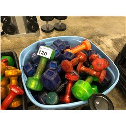 BIN OF ASSORTED MULTI-COLOUR DUMBELLS (BIN NOT INCLUDED)