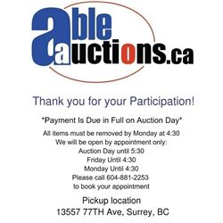 ALL ITEMS MUST BE REMOVED AUCTION DAY UNTIL 6PM OR FRIDAY OR MONDAY 9:30-4:30