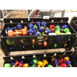 TOP 3 BINS OF ASSORTED WEIGHT/COLOUR DUMBELLS, RACK NOT INCLUDED