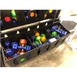 BOTTOM 3 BINS OF ASSORTED WEIGHT/COLOUR DUMBELLS, RACK NOT INCLUDED