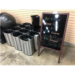 LOT OF GARBAGE BINS AND FOLDING SIGN
