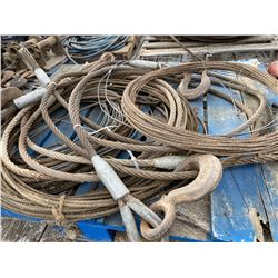 LOT OF 2 SKIDS CABLES - SOME TOW STYLE W/ HOOKS