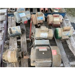 SKID LOT OF 8 ELECTRIC MOTORS - UNKNOWN CONDITION