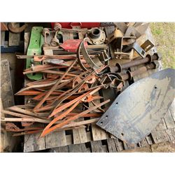 SKID LOT OF MISC IMPLEMENT PARTS