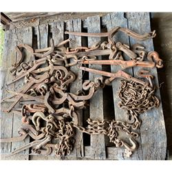 SKID LOT  OF CHAINS & BINDERS