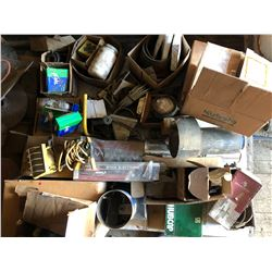 SKID LOT OF MISC IMPLEMENT PARTS, HARDWARE, NEW HEAVY BEARINGS, ETC