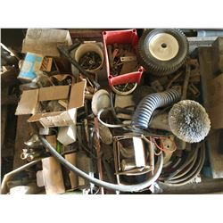 SKID LOT W/ QTY OF PARTS, HARDWARE, CULTIVATOR SHANKS