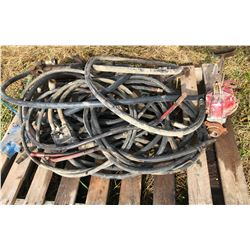 SKID LOT OF HYD HOSES, FITTINGS & CYLINDER