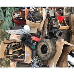 SKID LOT OF MISC HARDWARE, TOOLS, PARTS
