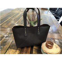 HANDMADE REAL LEATHER TOTE AND UPCYCLED BRACELET