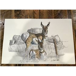 IKE*FOUST CHARCOAL AND WATERCOLOR ANTELOPE PRINT