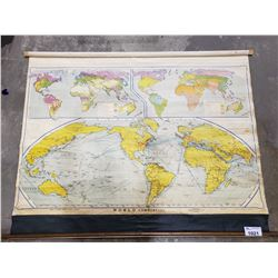 VINTAGE ROLL UP WORLD MAP