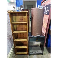 5 TIER SHELVING UNIT, DECORATIVE TRASH BIN, & SIDE TABLE