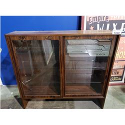 DANISH MODERN ROSE WOOD HUTCH WITH GLASS SHELVES