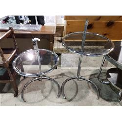 2 ADJUSTABLE GLASS TOP TABLES