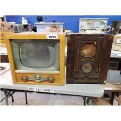 CIRCA 1950'S CROSLEY TUBE TV & VINTAGE RADIO
