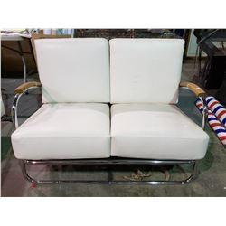 2 VINTAGE WHITE CHROME SOFA & LOVE SEAT CIRCA 1950'S MISSING 2 CUSHIONS