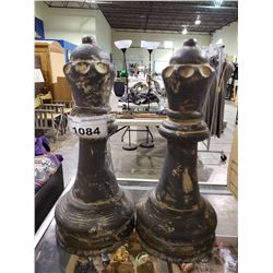 2 LARGE CHESS PAWN PIECES