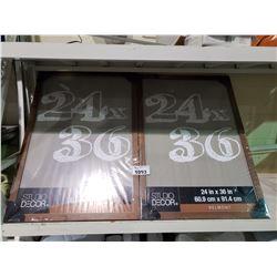"2 NEW 24"" X 36"" BROWN STUDIO DECOR BELMONT PICTURE FRAMES"