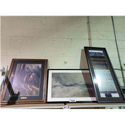 3 ASSORTED FRAMED WALL ART