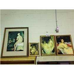 4 ASSORTED FRAMED ART PIECES