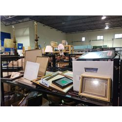 ASSORTED FRAMED PICTURES, FRAMES, & BOX OF ASSORTED BUTTONS