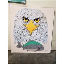 LARGE BALD EAGLE NATIVE ART SIGNED MEHRAN RAZMPOOSH 2016