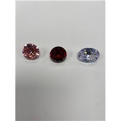 HUGE CUBIC ZIRCONIA WHITE WITH PINK HUE 56.70CTW, RED 47.80CTW, PINK 52.40CTW, AAA CUT