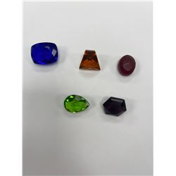 CUBIC ZIRCONIA READY TO BE PLACED IN JEWELRY WITH COLORS: RED TOPAZ 12.25CT, BLUE SAPPHIRE 22CT,