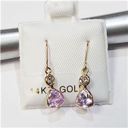 14K YELLOW GOLD PINK SAPPHIRE(1.2CT) & DIAMOND (0.2CT) EARRINGS
