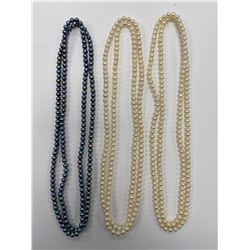 "3 - 16"" PEARL NECKLACES"