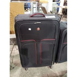 LARGE SIZE BLACK WITH RED TRIM SWISS ROLLING SUITCASE BROKEN RETRACTABLE HANDLE